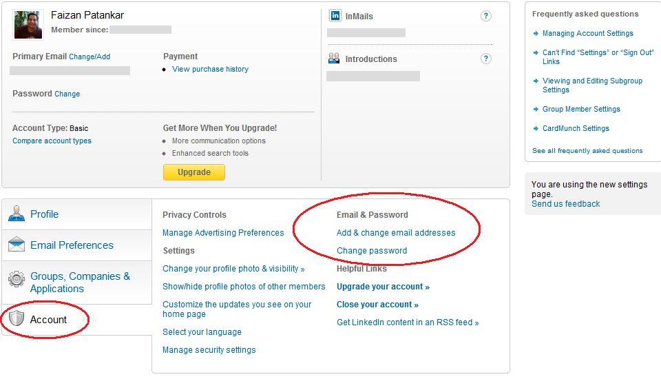 Linkedin account setting