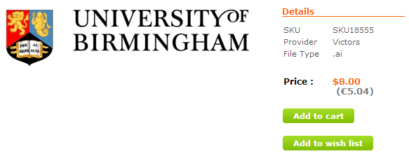 university logo being sold