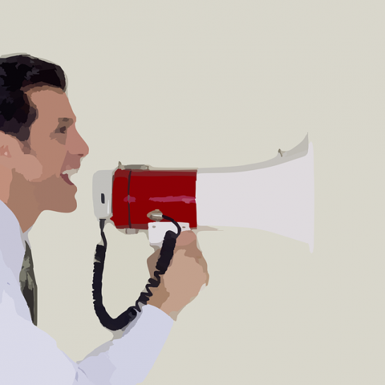 public speaking tips shouting in a microphone