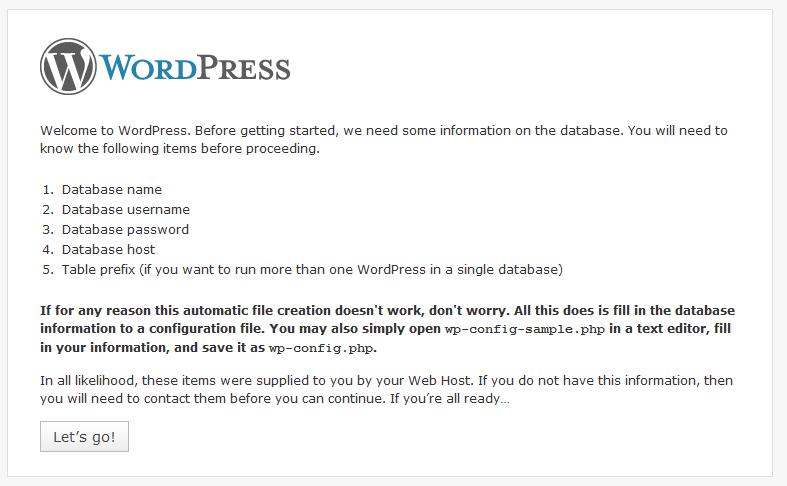 wordpress pre-reqs