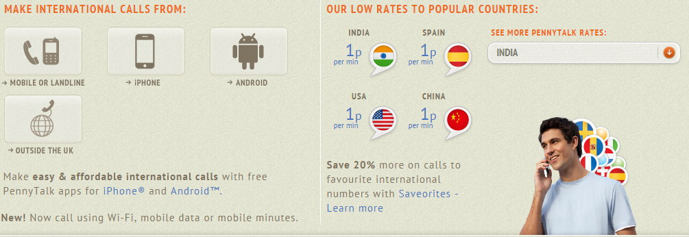 cheap international calls from the UK using PennyTalk