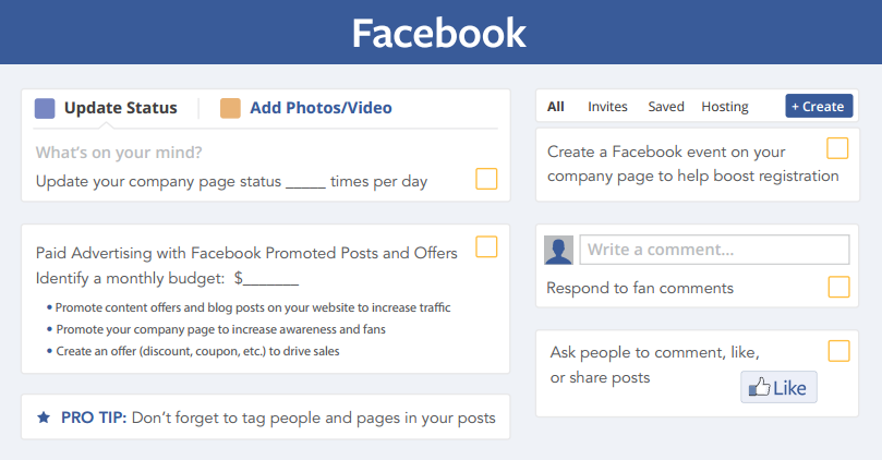 social media checklist for facebook