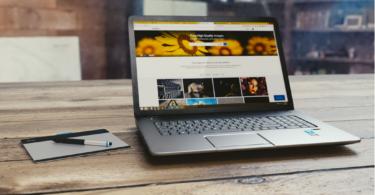 startup website running on a laptop
