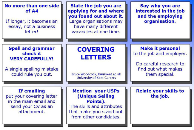 writing a cover letter, help to write cover letter, university of kent careers advisory service