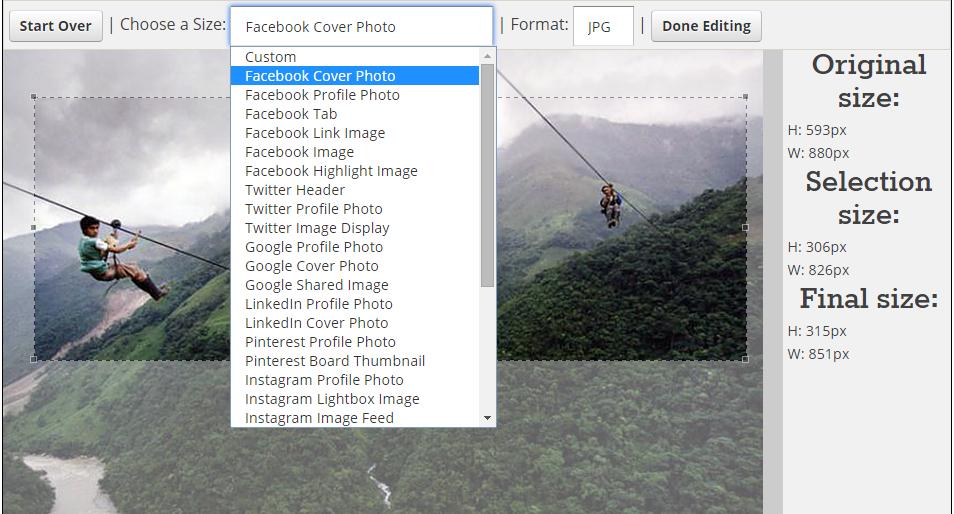 social imedia image resizer tool