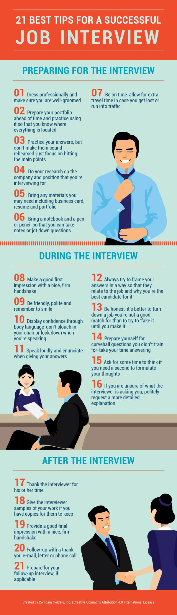 being successful on a job interview 061112 10 job interview tips from a ceo headhunter whether you're being interviewed to be an intern or a ceo, you're going to run into a few notoriously tricky questions–here's a road.