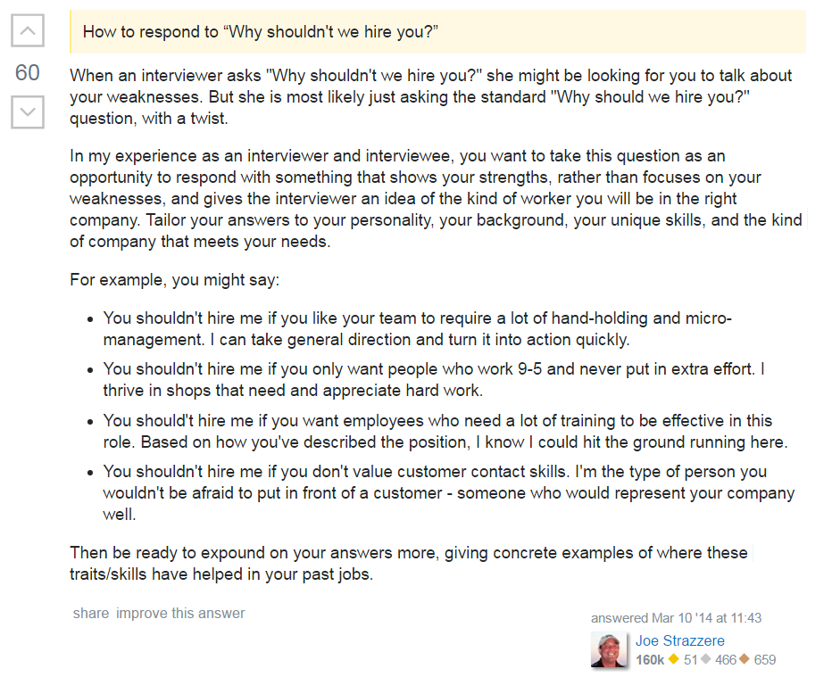how to answer why shouldn't i hire you