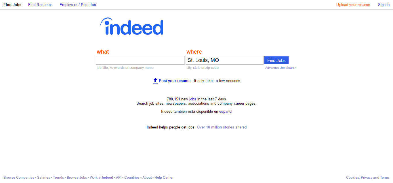 using indeed job search engine as a job hunting tool
