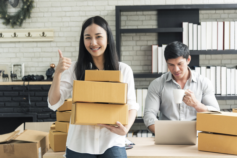 Entrepreneur young asian owner startup small business shop online