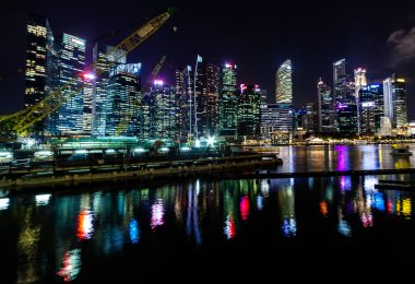 night time city on the water in Singapore